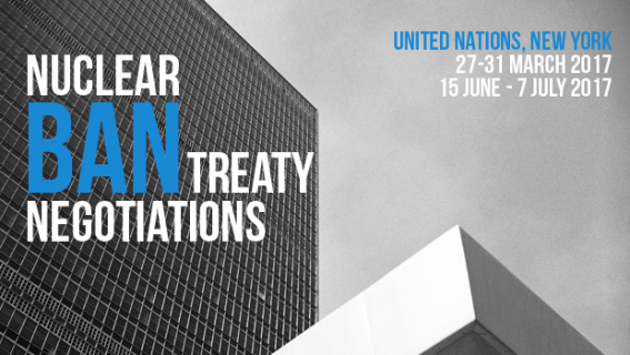 ICAN Poster saying Nuclear Ban Treaty Negotiations, United Nations, New York